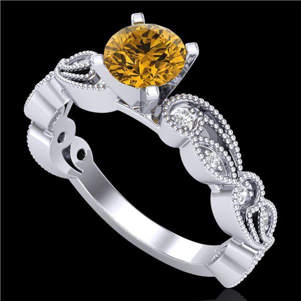 1.01 ctw Intense Fancy Yellow Diamond Art Deco Ring 18k White Gold - REF-143A6N