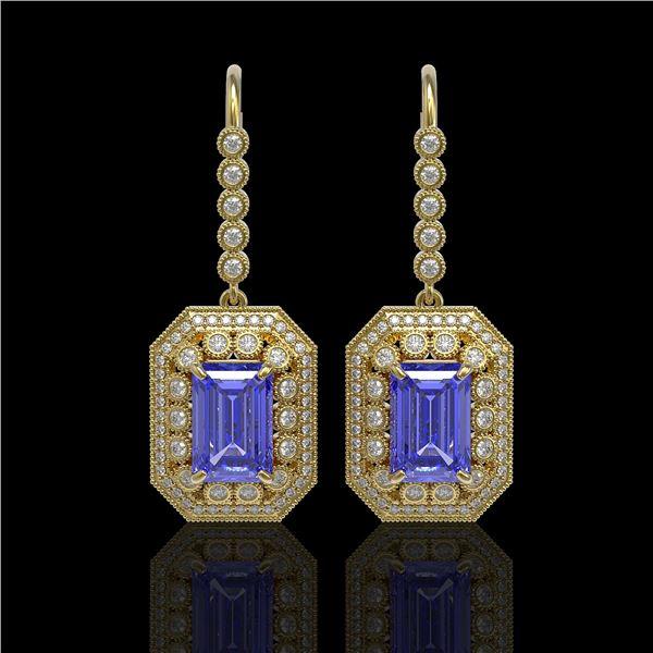 11.66 ctw Tanzanite & Diamond Victorian Earrings 14K Yellow Gold - REF-672F8M