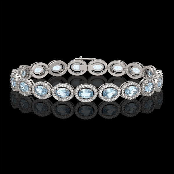 11.02 ctw Aquamarine & Diamond Micro Pave Halo Bracelet 10k White Gold - REF-309R3K