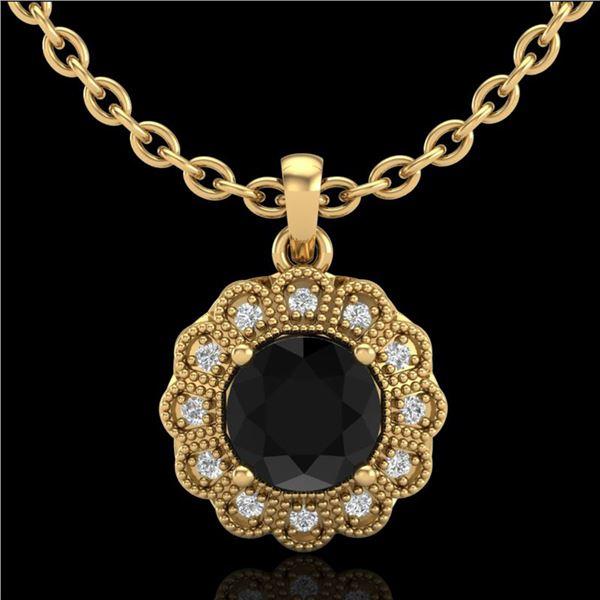 1.15 ctw Fancy Black Diamond Art Deco Stud Necklace 18k Yellow Gold - REF-89N3F