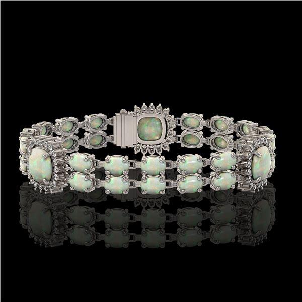16.55 ctw Opal & Diamond Bracelet 14K White Gold - REF-286K2Y