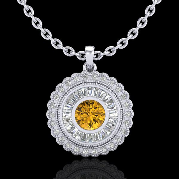 2.11 ctw Intense Fancy Yellow Diamond Art Deco Necklace 18k White Gold - REF-281K8Y