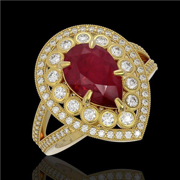 5.12 ctw Certified Ruby & Diamond Victorian Ring 14K Yellow Gold - REF-161M8G