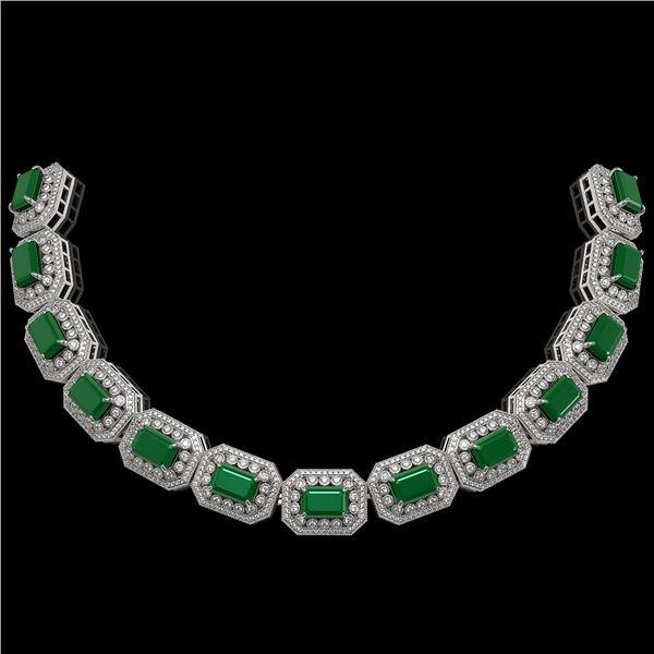 61.92 ctw Emerald & Diamond Victorian Bracelet 14K White Gold - REF-1545X5A