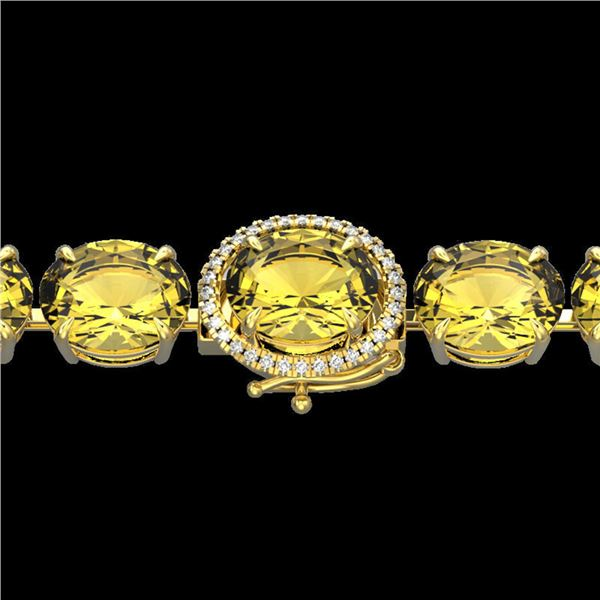 78 ctw Citrine & Micro Pave Diamond Bracelet 14k Yellow Gold - REF-212R8K