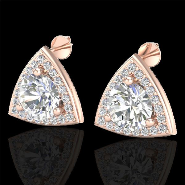 3 ctw Micro Pave VS/SI Diamond Certified Stud Earrings 14k Rose Gold - REF-819A5N