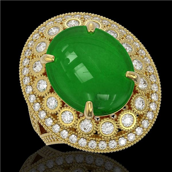 9.27 ctw Jade & Diamond Victorian Ring 14K Yellow Gold - REF-245A5N