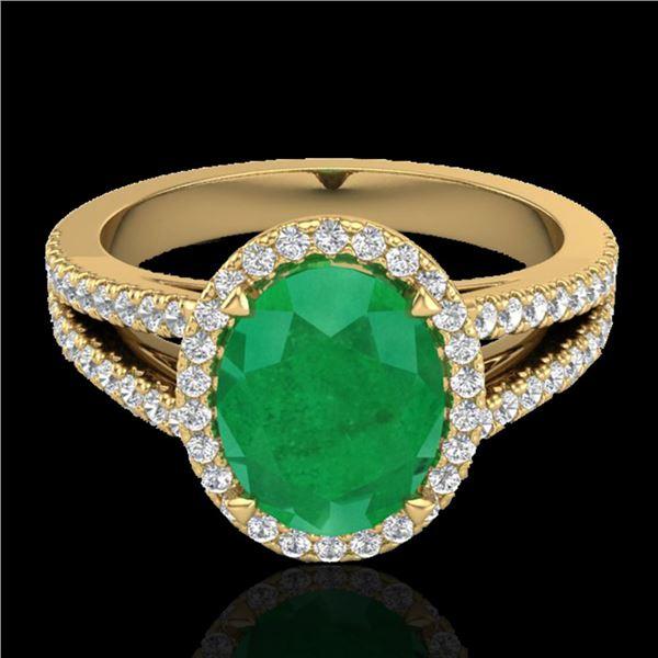 3 ctw Emerald & Micro VS/SI Diamond Halo Solitaire Ring 18k Yellow Gold - REF-83F6M