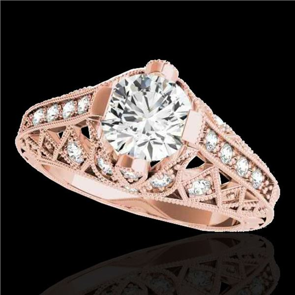 1.25 ctw Certified Diamond Solitaire Antique Ring 10k Rose Gold - REF-184W3H