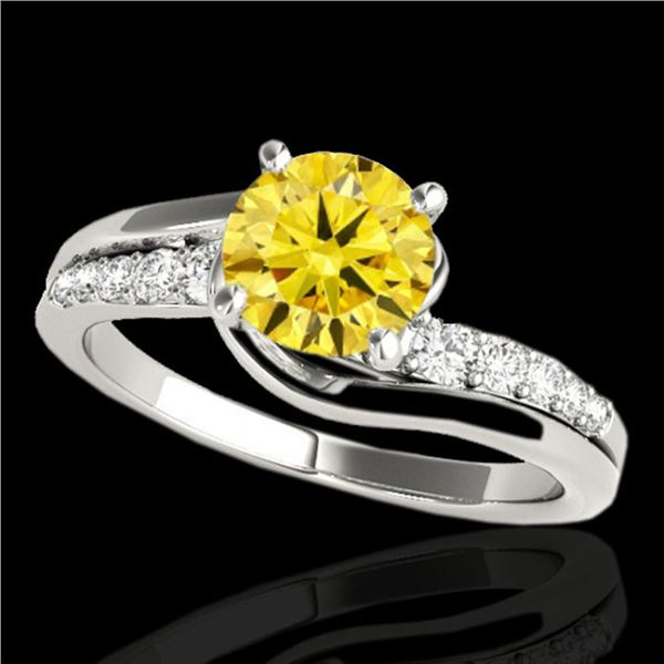 1.31 ctw Certified SI Intense Yellow Diamond Bypass Ring 10k White Gold - REF-190Y9X