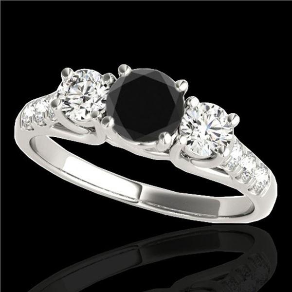3.25 ctw Certified VS Black Diamond 3 Stone Ring 10k White Gold - REF-190R9K