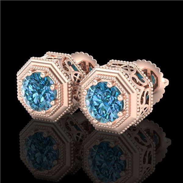 1.07 ctw Fancy Intense Blue Diamond Art Deco Earrings 18k Rose Gold - REF-118W2H