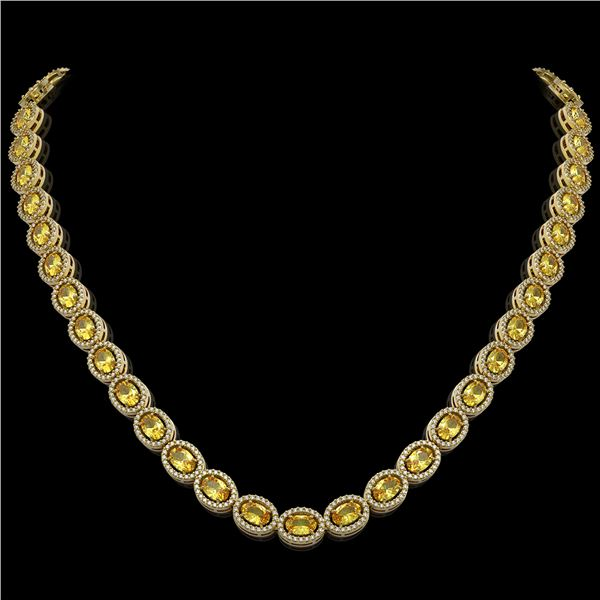 28.52 ctw Fancy Citrine & Diamond Micro Pave Halo Necklace 10k Yellow Gold - REF-600F2M