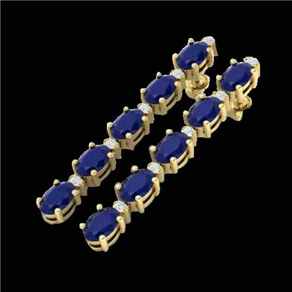 17.97 ctw Sapphire & VS/SI Certified Diamond Tennis Earrings 10k Yellow Gold - REF-145G5W