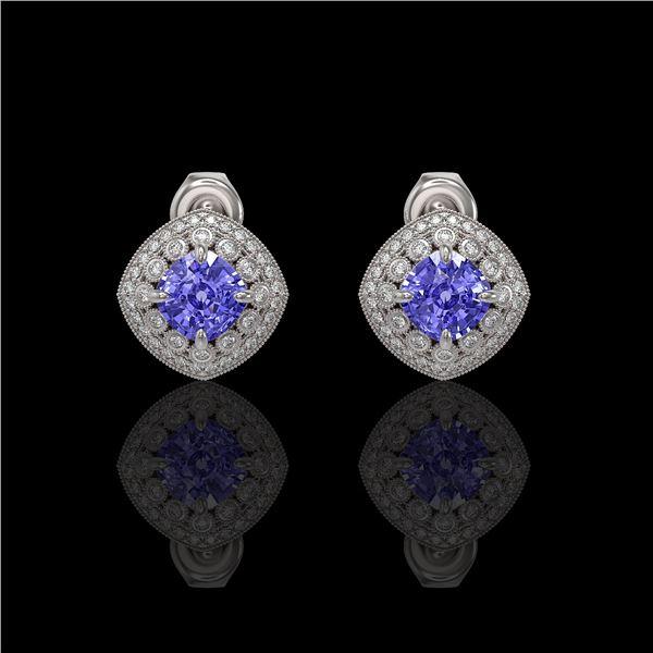 5.09 ctw Tanzanite & Diamond Victorian Earrings 14K White Gold - REF-152K5Y