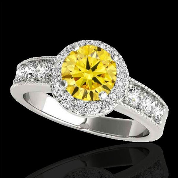 1.85 ctw Certified SI/I Fancy Intense Yellow Diamond Ring 10k White Gold - REF-211A4N