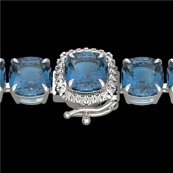 35 ctw London Blue Topaz & Micro VS/SI Diamond Bracelet 14k White Gold - REF-169K3Y