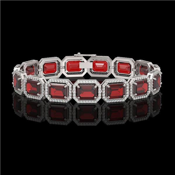 33.41 ctw Garnet & Diamond Micro Pave Halo Bracelet 10k White Gold - REF-318K2Y