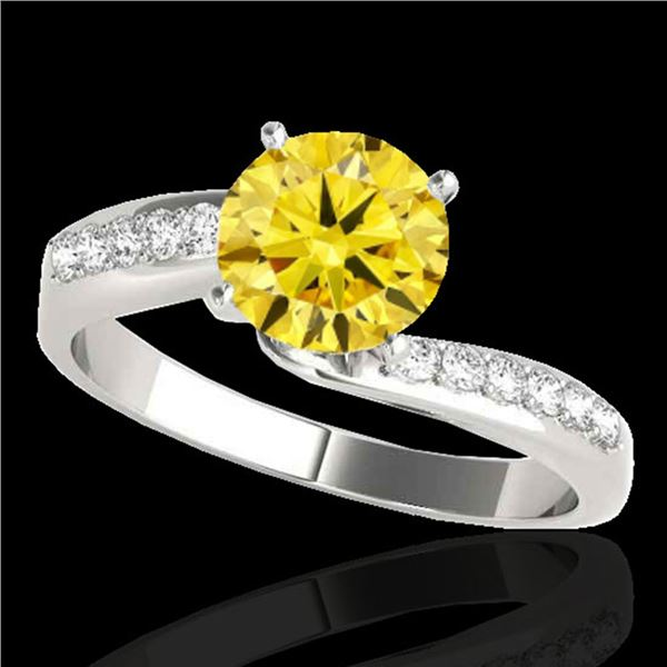 1.15 ctw Certified SI Intense Yellow Diamond Bypass Ring 10k White Gold - REF-184H3R