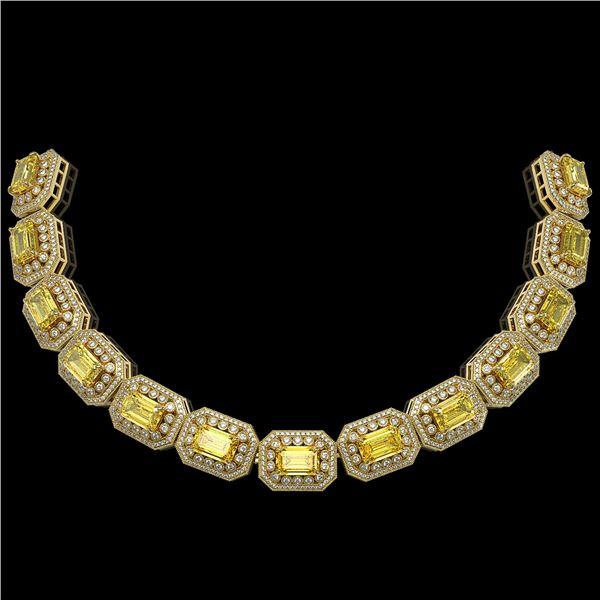 49.68 ctw Canary Citrine & Diamond Victorian Bracelet 14K Yellow Gold - REF-1055X3A