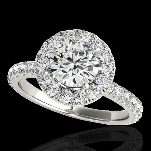 1.75 ctw Certified Diamond Solitaire Halo Ring 10k White Gold - REF-204K5Y