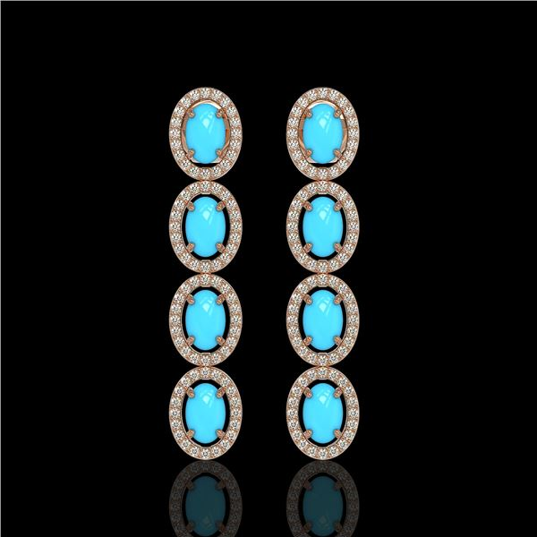 4.84 ctw Turquoise & Diamond Micro Pave Halo Earrings 10k Rose Gold - REF-110M9G