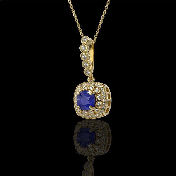 2.55 ctw Sapphire & Diamond Victorian Necklace 14K Yellow Gold - REF-100K2Y