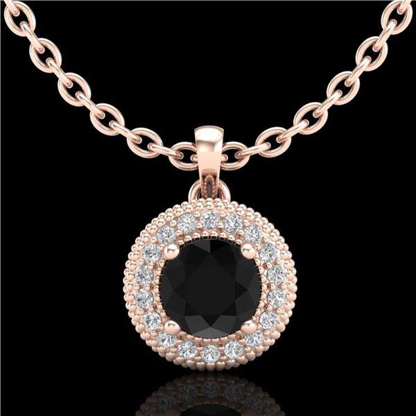 1 ctw Fancy Black Diamond Art Deco Stud Necklace 18k Rose Gold - REF-76W8H