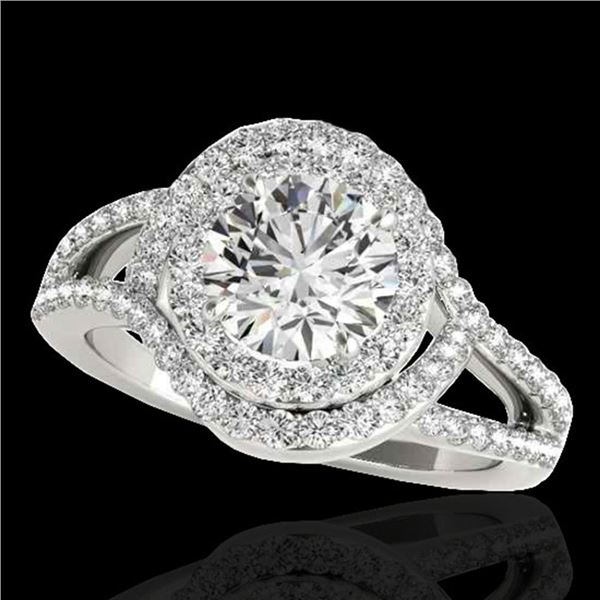 2.15 ctw Certified Diamond Solitaire Halo Ring 10k White Gold - REF-257H8R