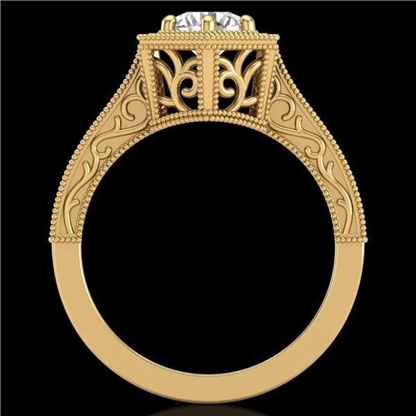 0.77 ctw VS/SI Diamond Art Deco Ring 18k Yellow Gold - REF-172K8Y