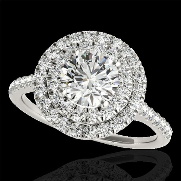 1.5 ctw Certified Diamond Solitaire Halo Ring 10k White Gold - REF-197M8G