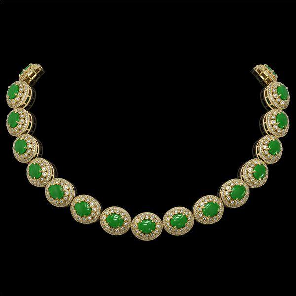 101.75 ctw Jade & Diamond Victorian Necklace 14K Yellow Gold - REF-2594N5F