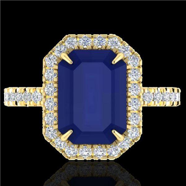 5.33 ctw Sapphire & Micro Pave VS/SI Diamond Ring 18k Yellow Gold - REF-77Y3X