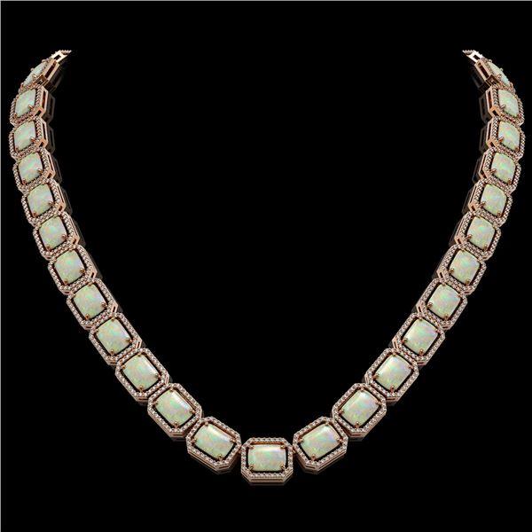 53.59 ctw Opal & Diamond Micro Pave Halo Necklace 10k Rose Gold - REF-890X9A