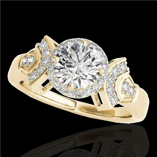 1.56 ctw Certified Diamond Solitaire Halo Ring 10k Yellow Gold - REF-245A5N