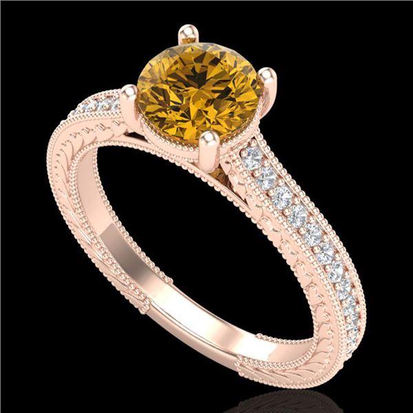 1.45 ctw Intense Fancy Yellow Diamond Art Deco Ring 18k Rose Gold - REF-290X9A