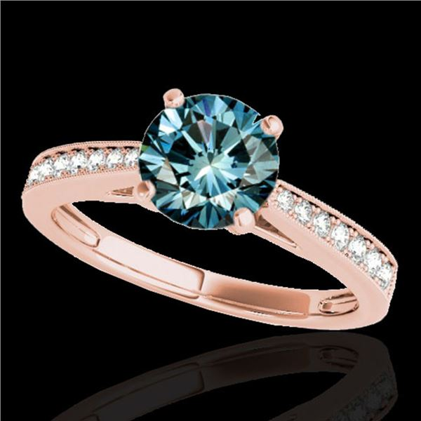 1.25 ctw SI Certified Fancy Blue Diamond Solitaire Ring 10k Rose Gold - REF-118Y6X
