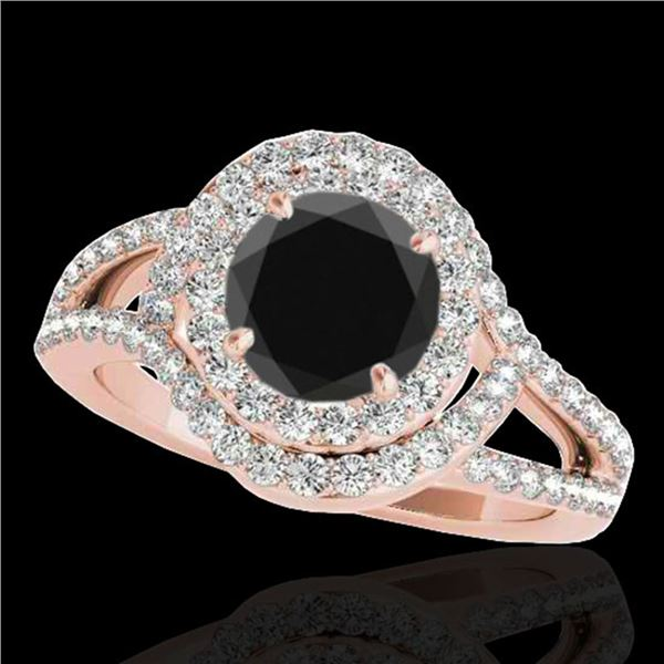 2.15 ctw Certified VS Black Diamond Solitaire Halo Ring 10k Rose Gold - REF-130A5N