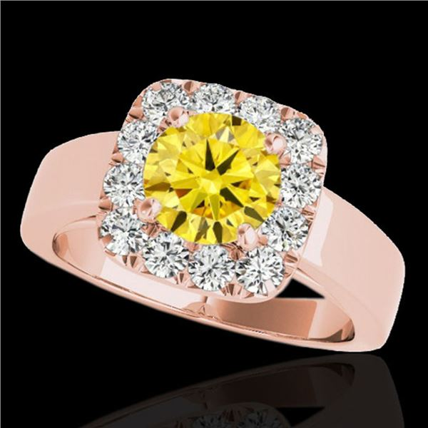 1.55 ctw Certified SI/I Fancy Intense Yellow Diamond Ring 10k Rose Gold - REF-190N9F