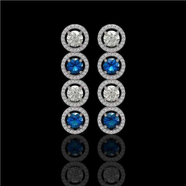 5.42 ctw Blue & Diamond Micro Pave Earrings 18K White Gold - REF-513H8R