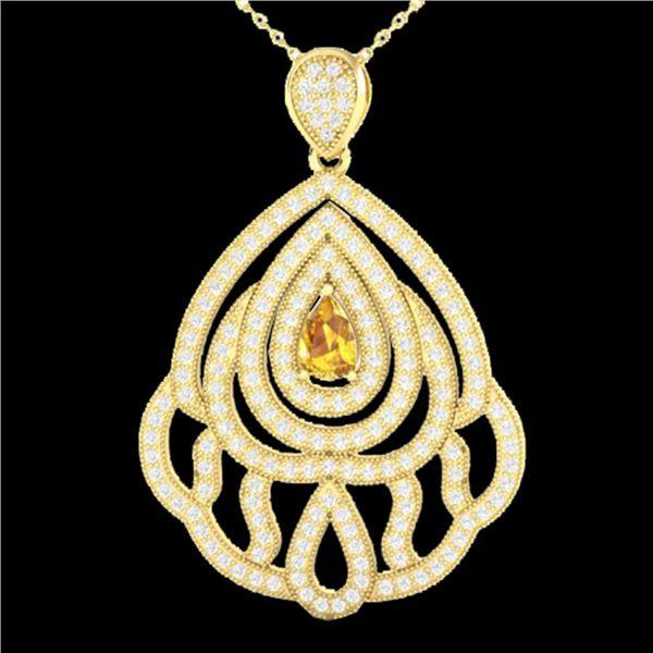 2 ctw Yellow Sapphire & Micro VS/SI Diamond Necklace 18k Yellow Gold - REF-180X2A