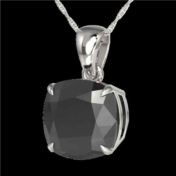 6 Cushion Black Diamond Designer Necklace 18k White Gold - REF-143R6K