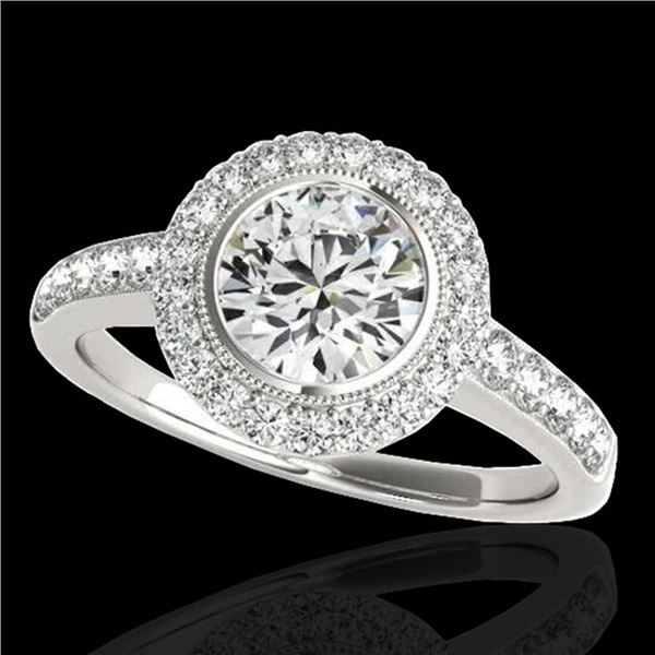 1.5 ctw Certified Diamond Solitaire Halo Ring 10k White Gold - REF-218F2M