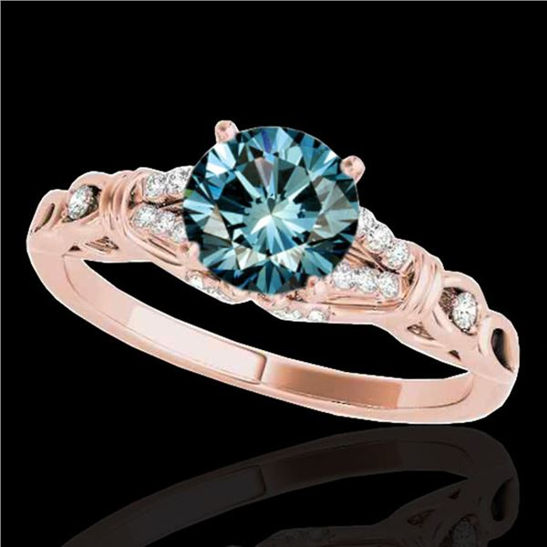 1.2 ctw SI Certified Fancy Blue Diamond Solitaire Ring 10k Rose Gold - REF-135X2A