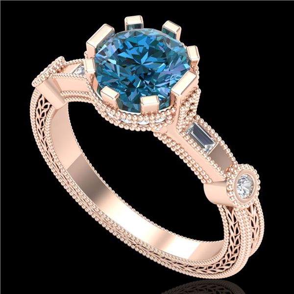 1.71 ctw Fancy Intense Blue Diamond Art Deco Ring 18k Rose Gold - REF-263M6G