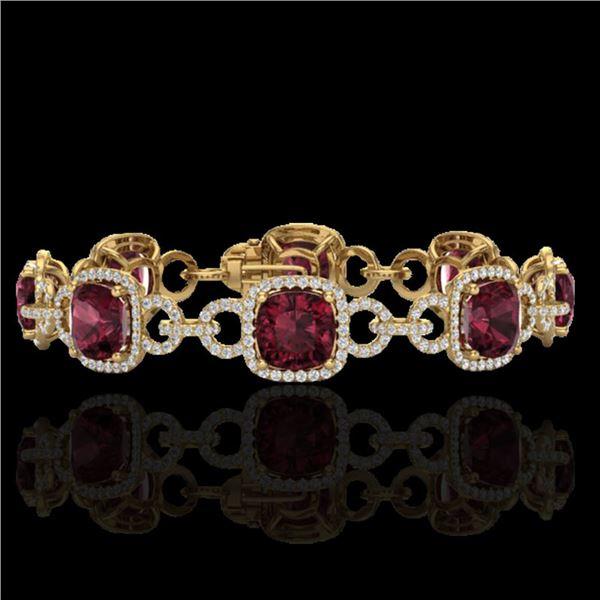30 ctw Garnet & Micro VS/SI Diamond Certified Bracelet 14k Yellow Gold - REF-368X9A