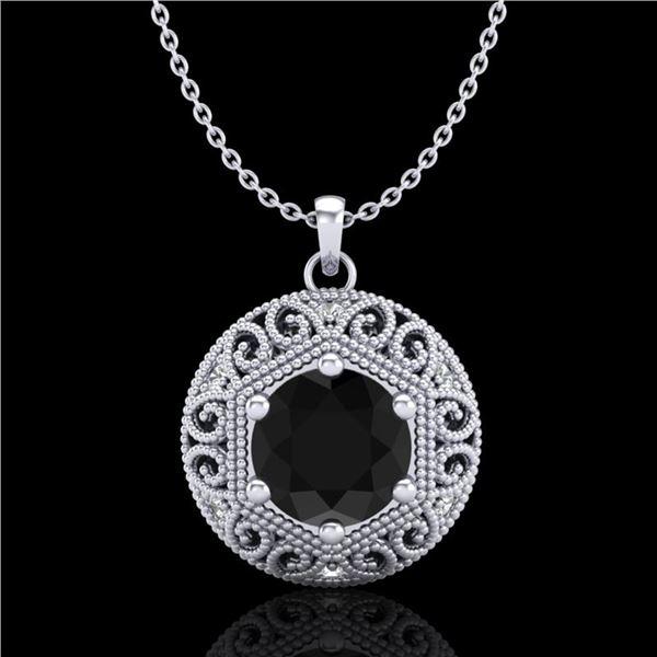 1.11 ctw Fancy Black Diamond Art Deco Stud Necklace 18k White Gold - REF-87A3N