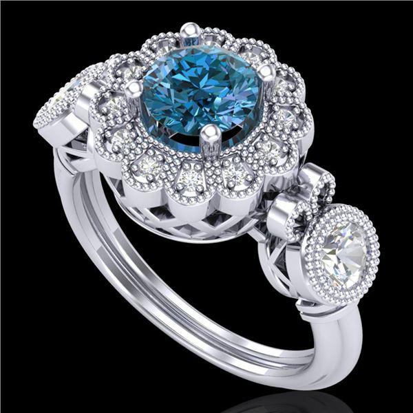 1.5 ctw Intense Blue Diamond Art Deco 3 Stone Ring 18k White Gold - REF-218W2H