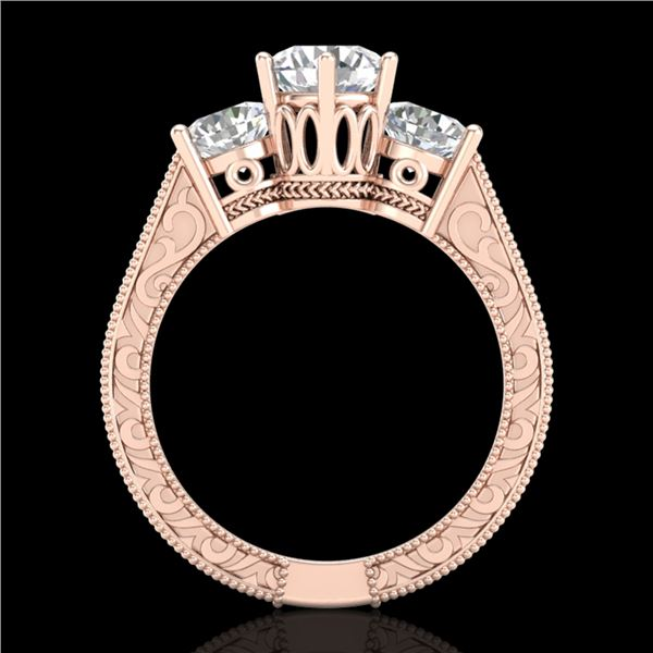 2.01 ctw VS/SI Diamond Solitaire Art Deco 3 Stone Ring 18k Rose Gold - REF-527K3Y