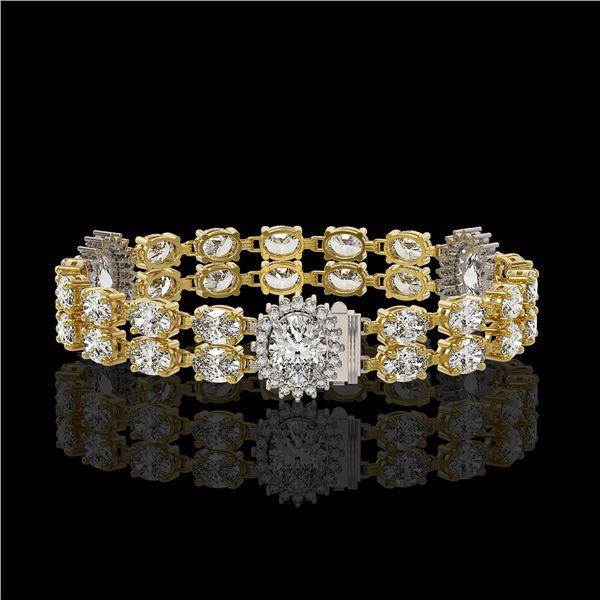14.86 ctw Rare Oval Diamond Bracelet 18K Yellow Gold - REF-2152N8F